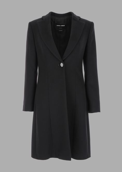 Pure cashmere single-breasted coat