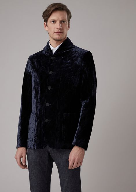 Slim-fit flocked panne jacket with shawl collar