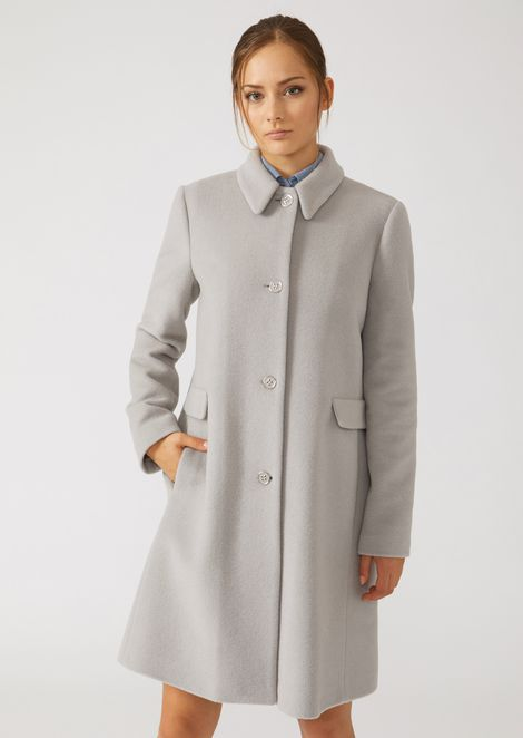 Wool blend broadcloth coat with classic collar