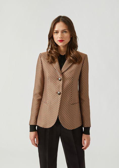 Honeycomb jacquard single-breasted jacket