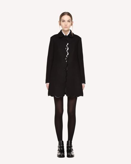Naval Wool coat with scallop detail