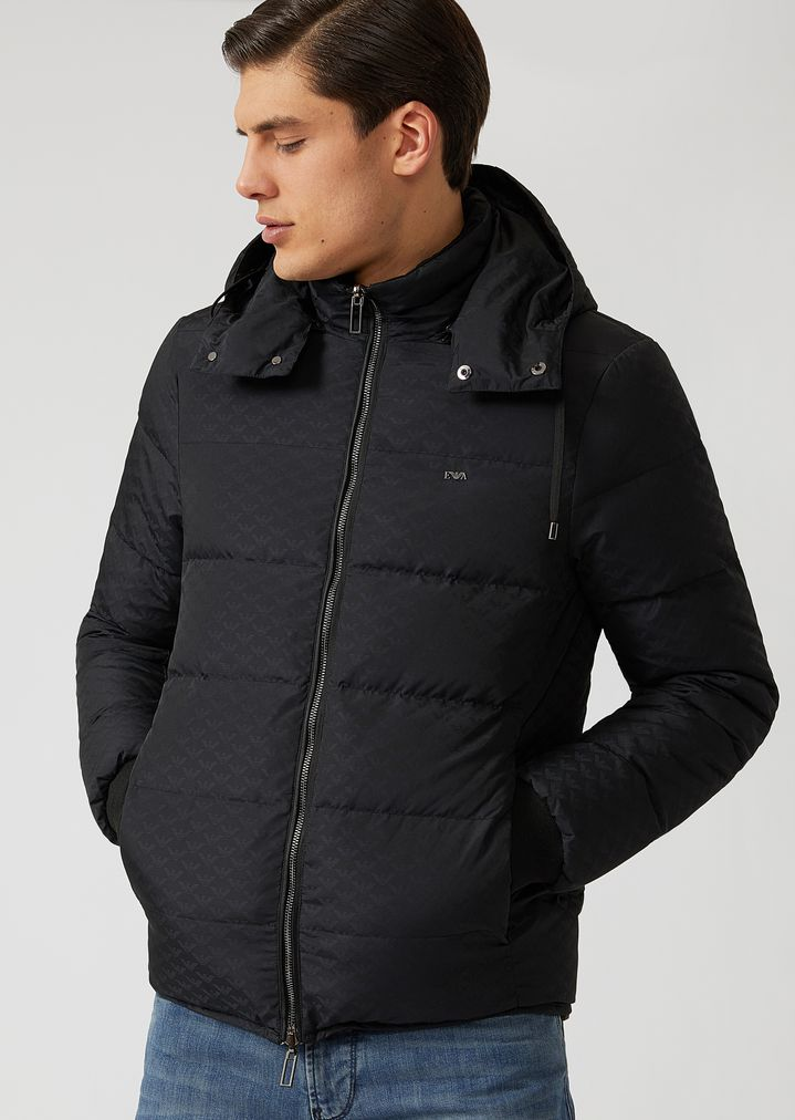 f47ec9535e Reversible hooded jacket with knit cuffs | Man | Emporio Armani