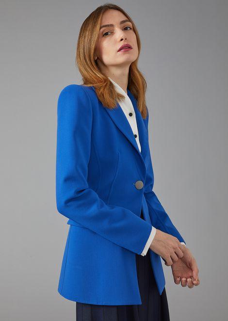 Single-breasted plain-knit virgin wool jacket