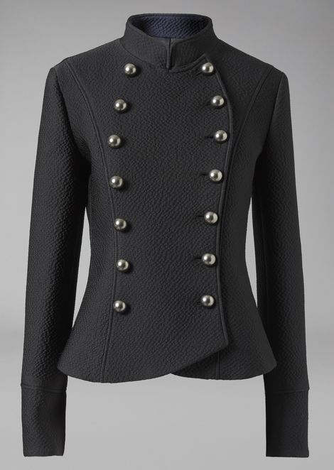 Double-breasted textured jacket with flared hem