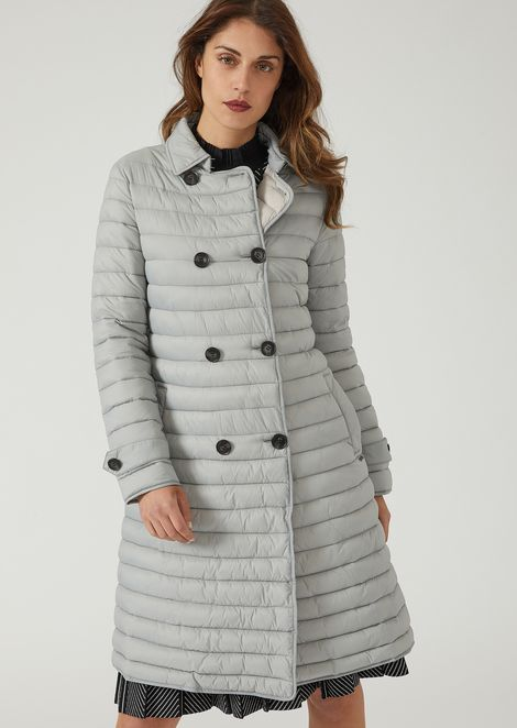 Long double-breasted padded coat with belted waist