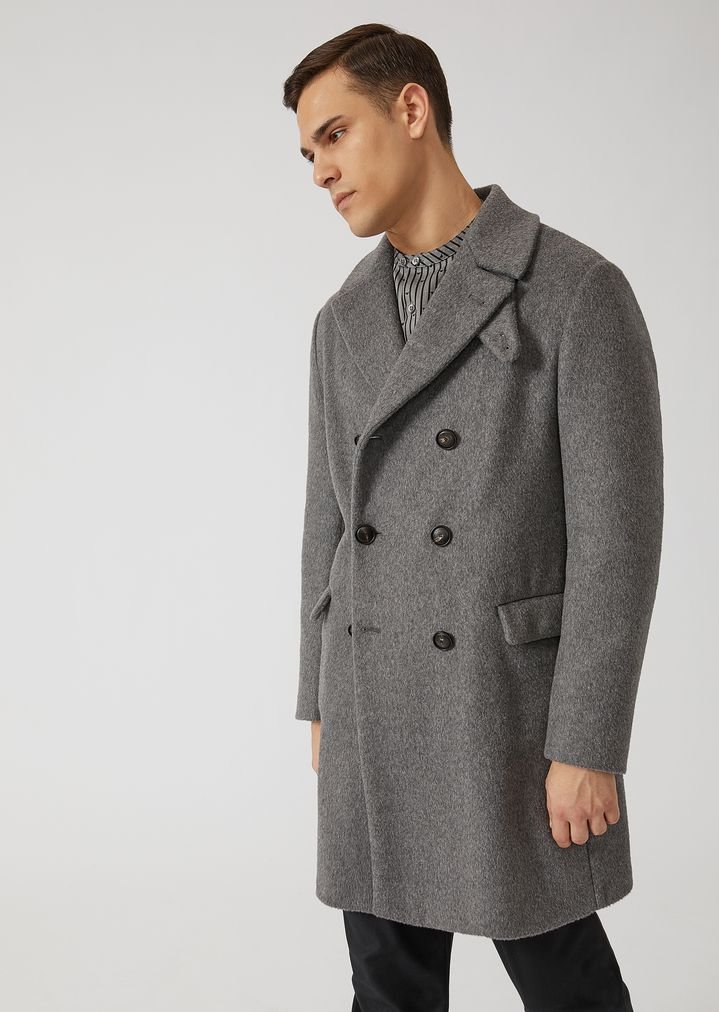 super popular 0b385 9cc18 Cappotto doppiopetto in misto Alpaca con paracollo | Uomo ...