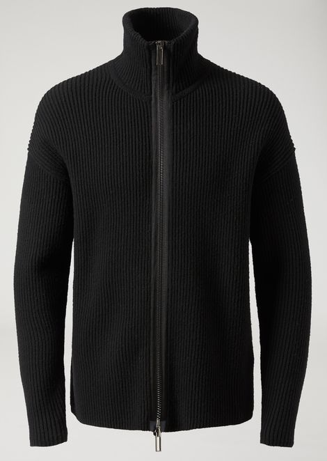 Cob stitch stretch virgin wool cardigan with zip