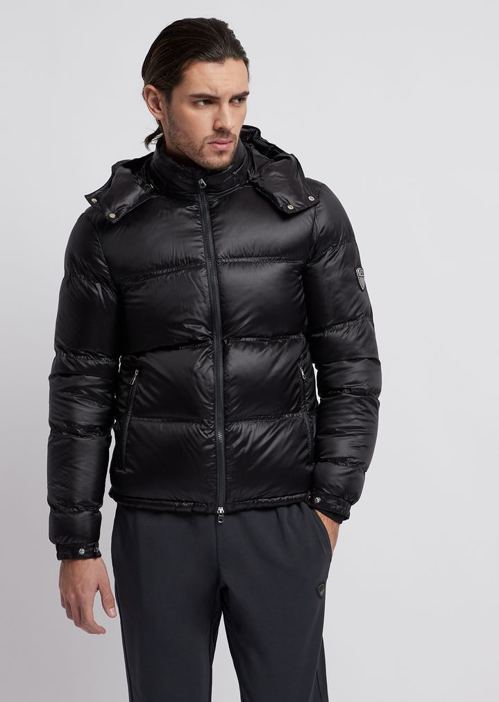 03626b09ac Quilted down jacket with hood and zip | Man | Ea7