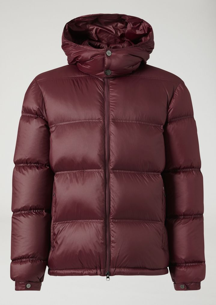 2446d11968 Quilted down jacket with hood and zip