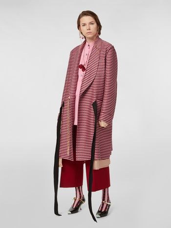 Marni Shawl-collar duster coat in micro plaid tweed Woman