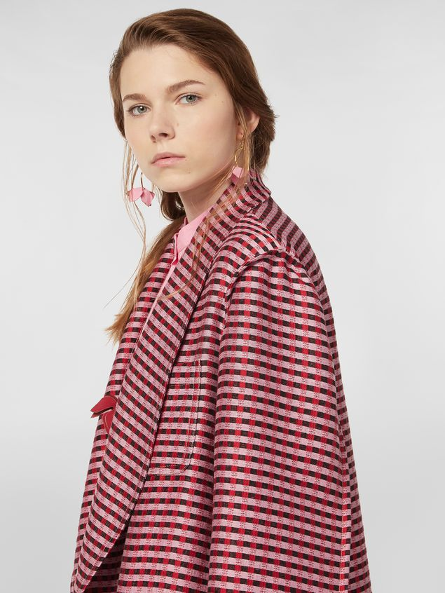 MARNI Duster Coat Woman Shawl-collar duster coat in micro plaid tweed a