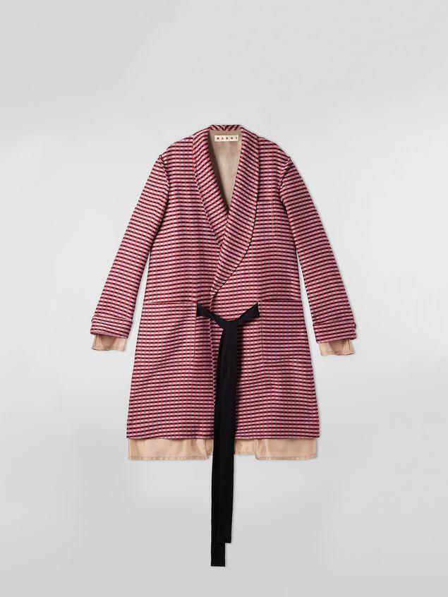 Marni Shawl-collar duster coat in micro plaid tweed Woman - 2