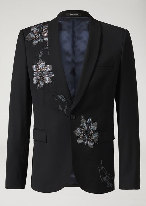 Single-breasted jacket in tropical wool with embroidered flowers