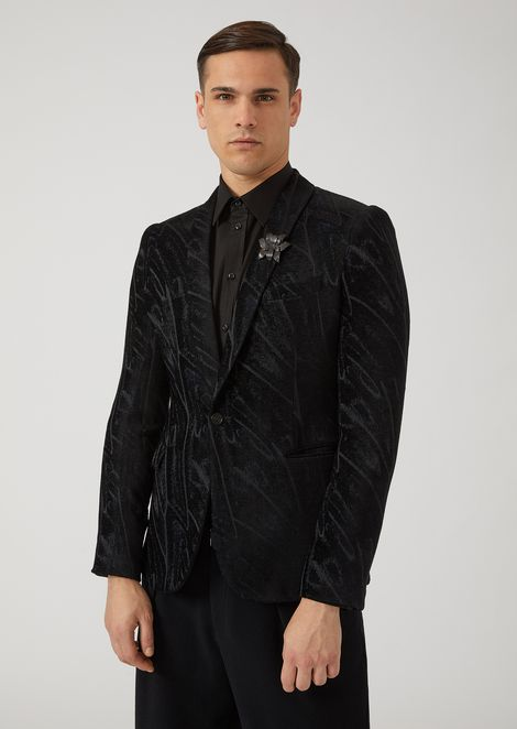 Single-breasted jacquard chenille jacket