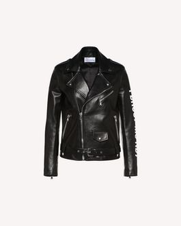 "REDValentino ""Forget Me Not"" print leather biker jacket"