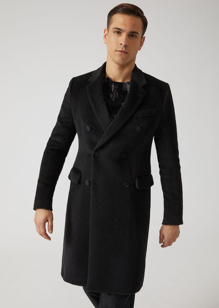 huge selection of 92da8 9660d Cappotto doppiopetto in velour misto alpaca | Uomo | Emporio ...