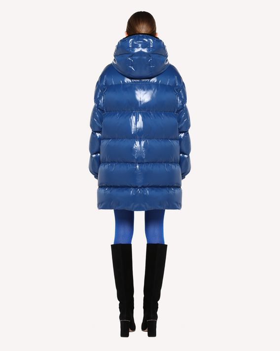 REDValentino Glossy nylon and velvet down coat