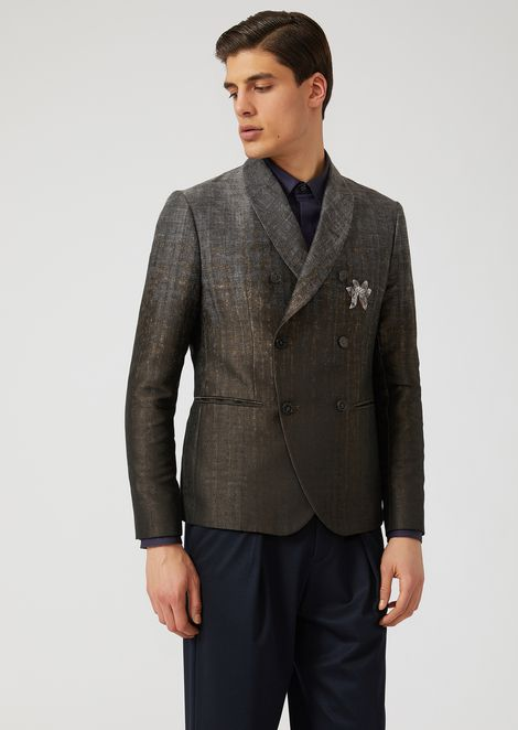 Faded-colour jacquard double-breasted jacket