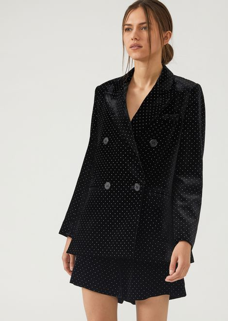 Double-breasted velvet jacket studded with crystals