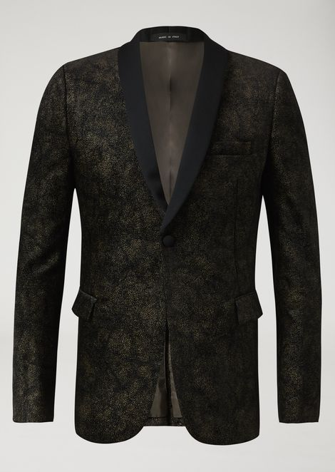Single-breasted gilded velvet jacket with satin lapel
