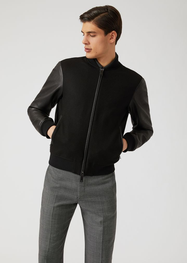 94c4fe30148 Cloth bomber jacket with contrasting sleeves and embroidery on the back