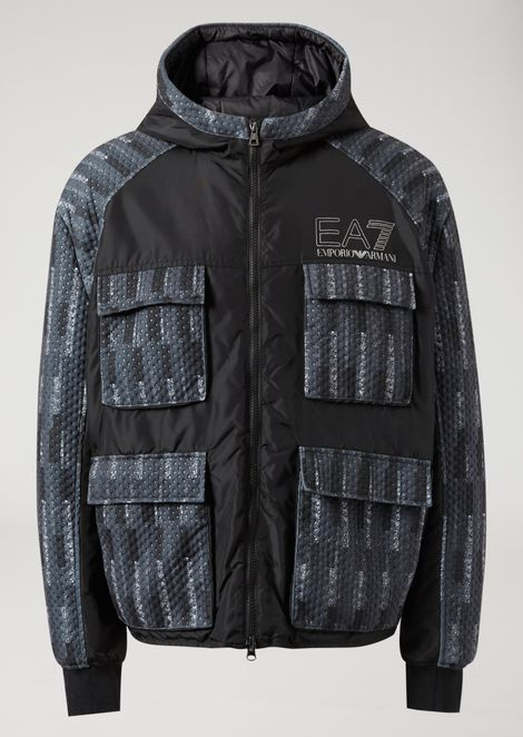 Multi-pocket puffer jacket with hood