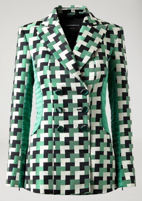 Double-breasted jacket in geometric fabric with quilted inserts