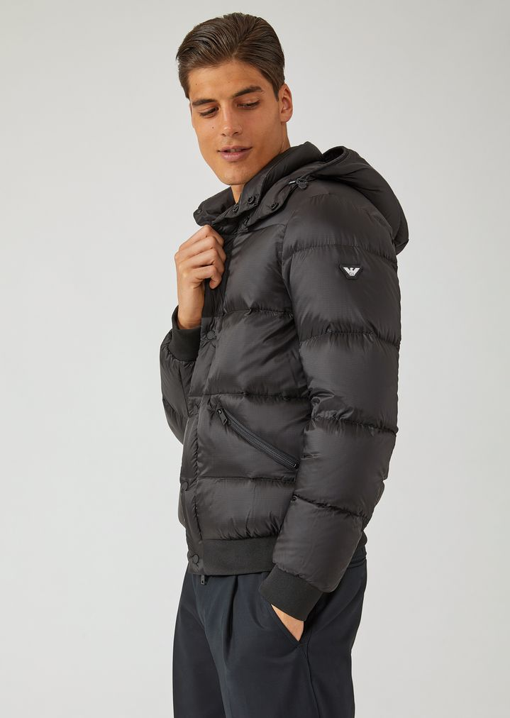 582867c46477 Padded jacket with quilted fabric and knit trim