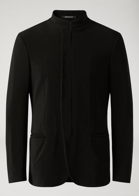 Ribbed techno jersey jacket with hidden buttons