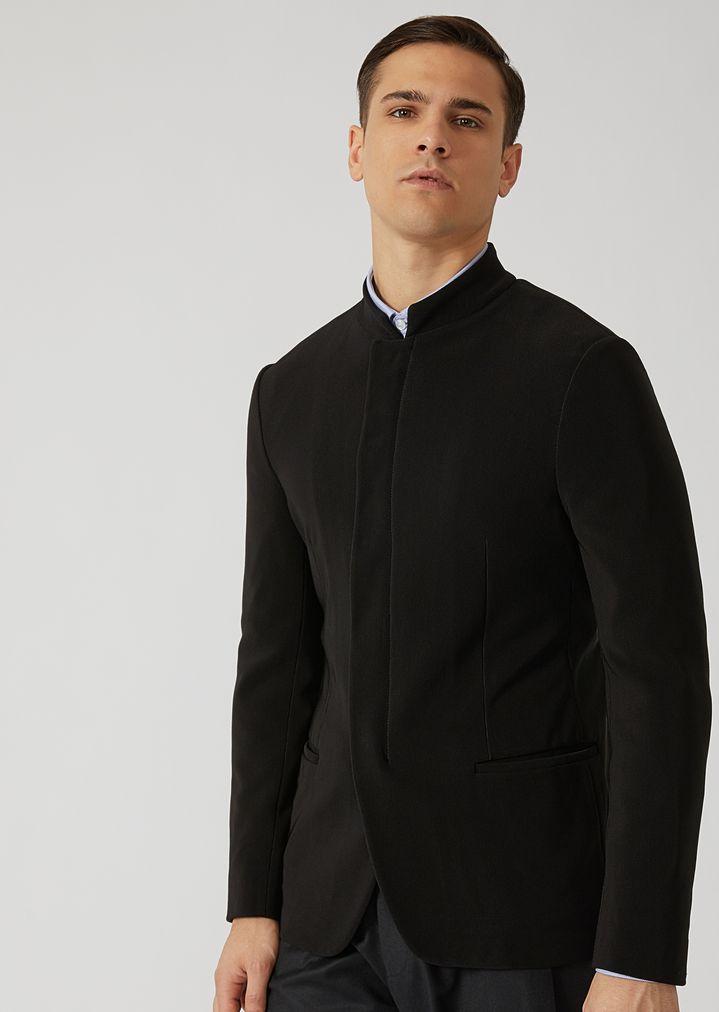 ea25bb3b8e Ribbed techno jersey jacket with hidden buttons | Man | Emporio Armani