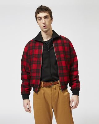 GUSS plaid baseball jacket