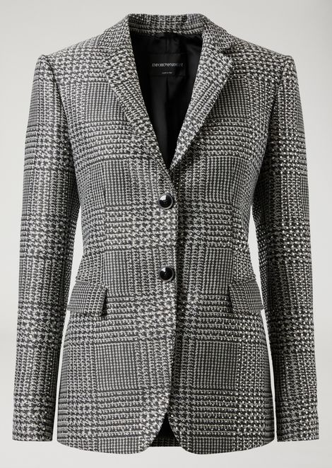 Houndstooth fabric single-breasted jacket with crystals