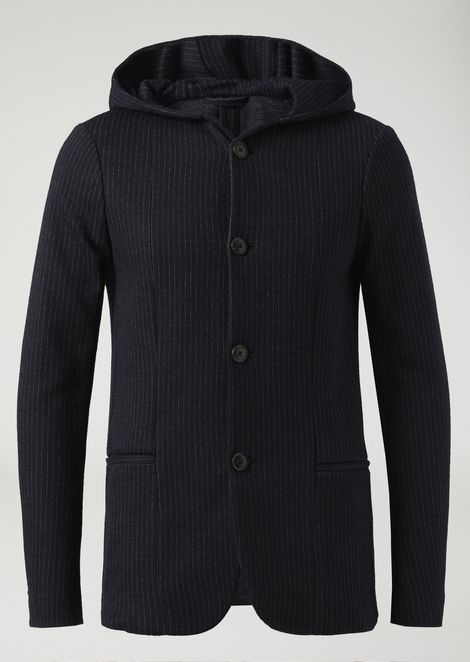 Patterned knit fabric jacket with hood