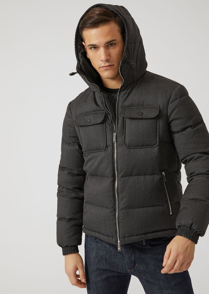 aa131b09 Wool twill down-padded jacket | Man | Emporio Armani