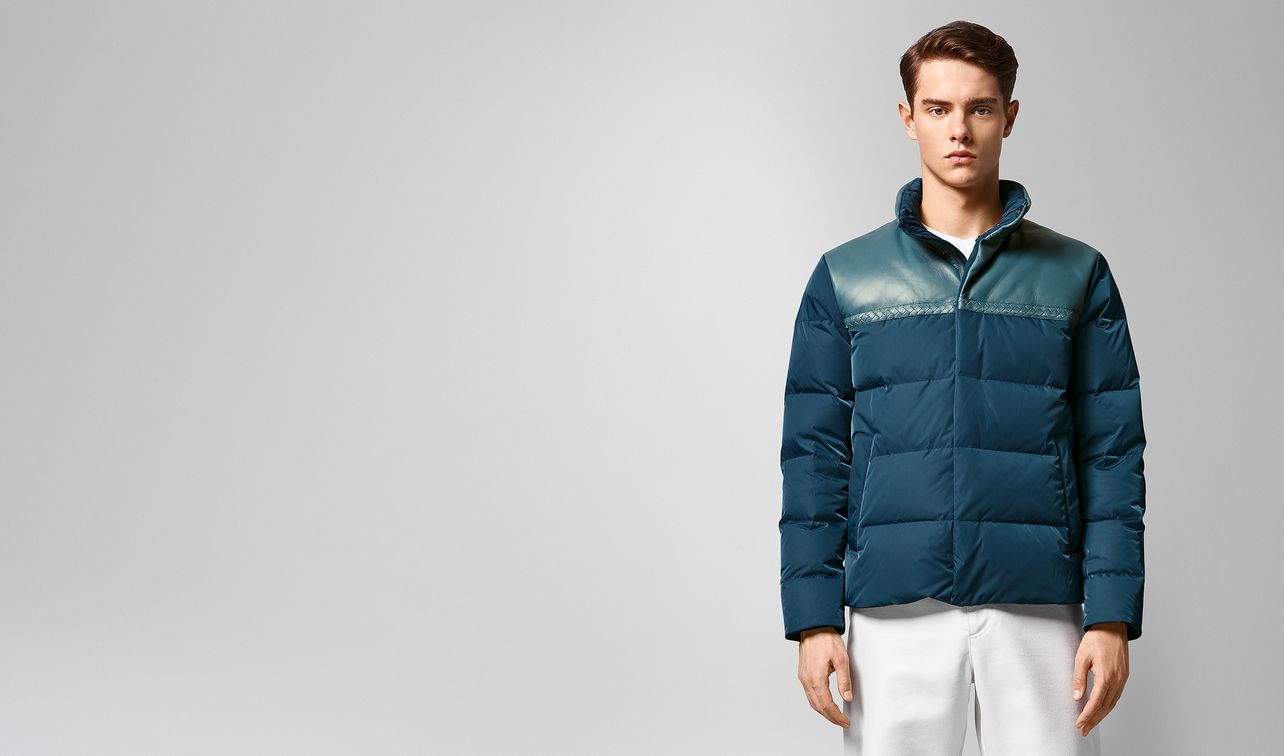 jacket in nylon and nappa landing