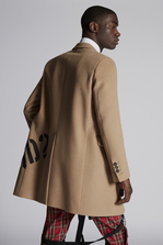 DSQUARED2 Camel Wool Coat With Dsquared2 Logo On The Back Coat Man