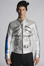 DSQUARED2 Goat Leather Kiodo With Dsquared2 Logo On Sleeve Leather outerwear Man