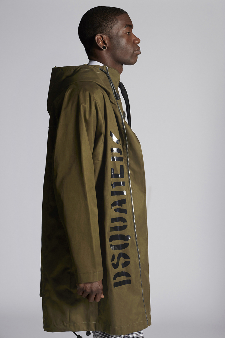 DSQUARED2 Cotton Twill Parka With Dsquared2 Logo Kaban Man
