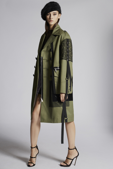 DSQUARED2 Cotton Twill Military Lace Maxi Coat Coat Woman
