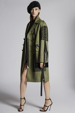 DSQUARED2 Cotton Twill Military Lace Maxi Coat 大衣 女士