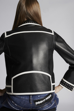 DSQUARED2 Lamb Leather Kiodo Studded Bomber Kaban Woman