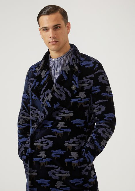 Velvet coat with camouflage embroidery