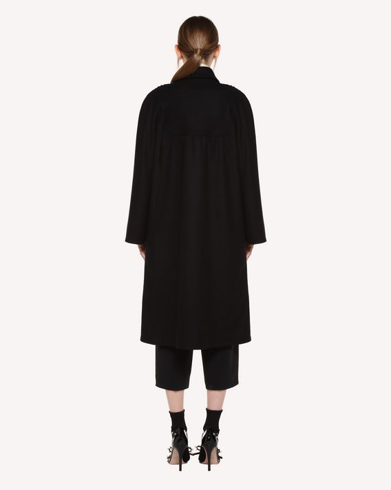 REDValentino Wool Cloth Coat with Ornamental Frame embroidery