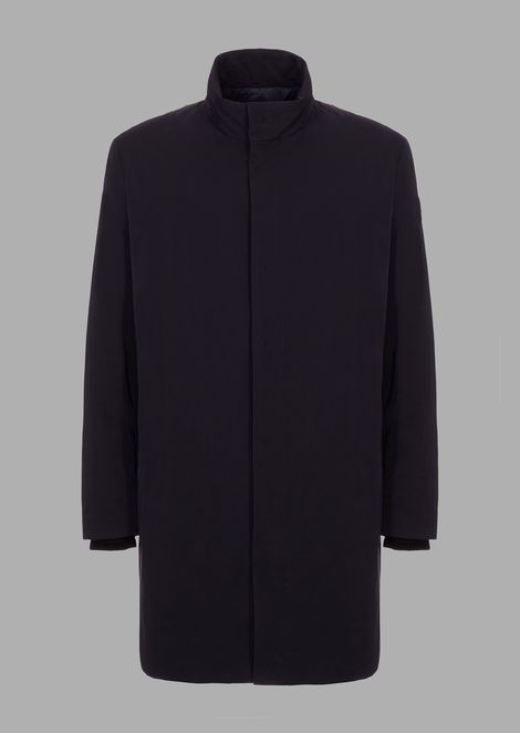 Trench coat with cashmere down padding