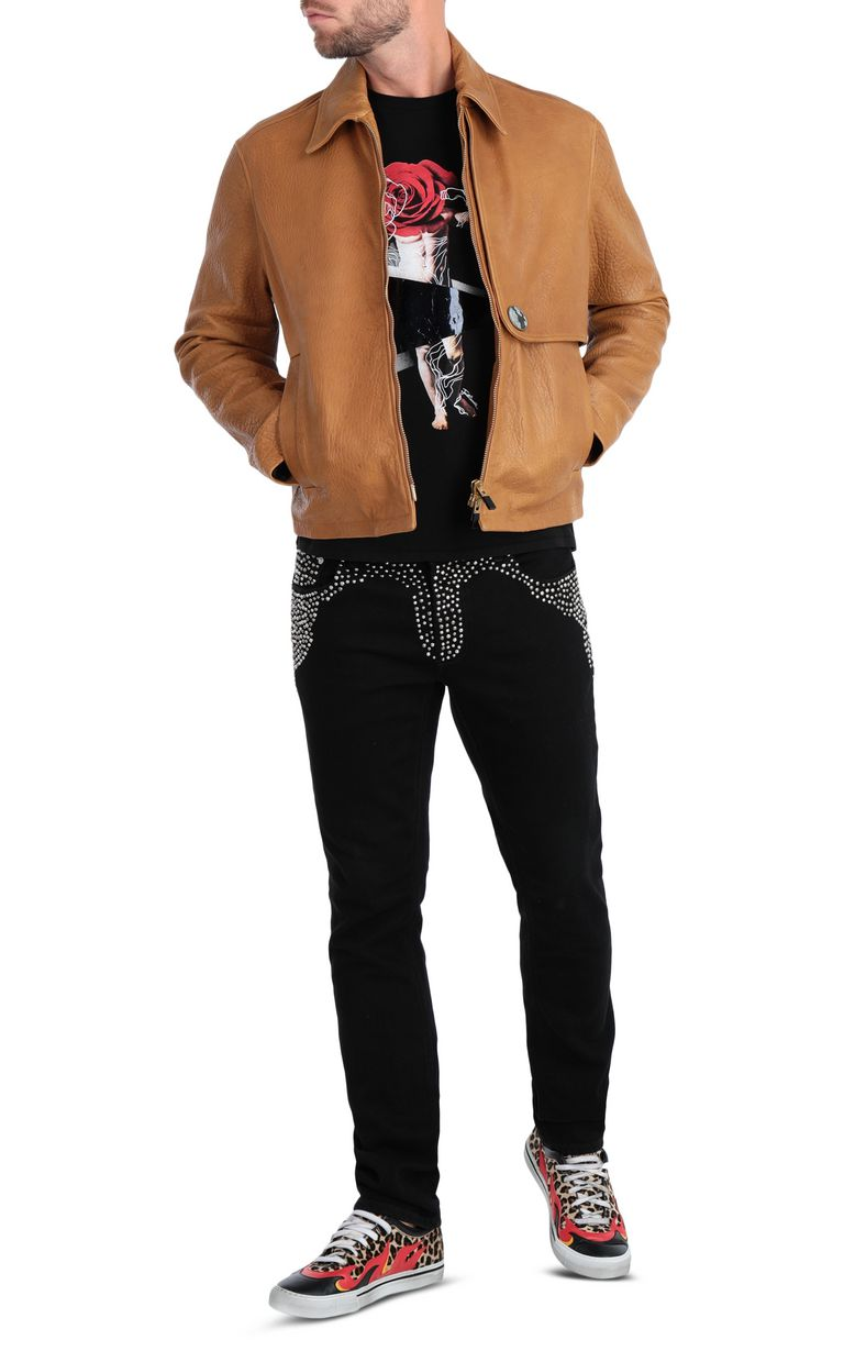JUST CAVALLI Brown-leather jacket Leather Jacket Man d