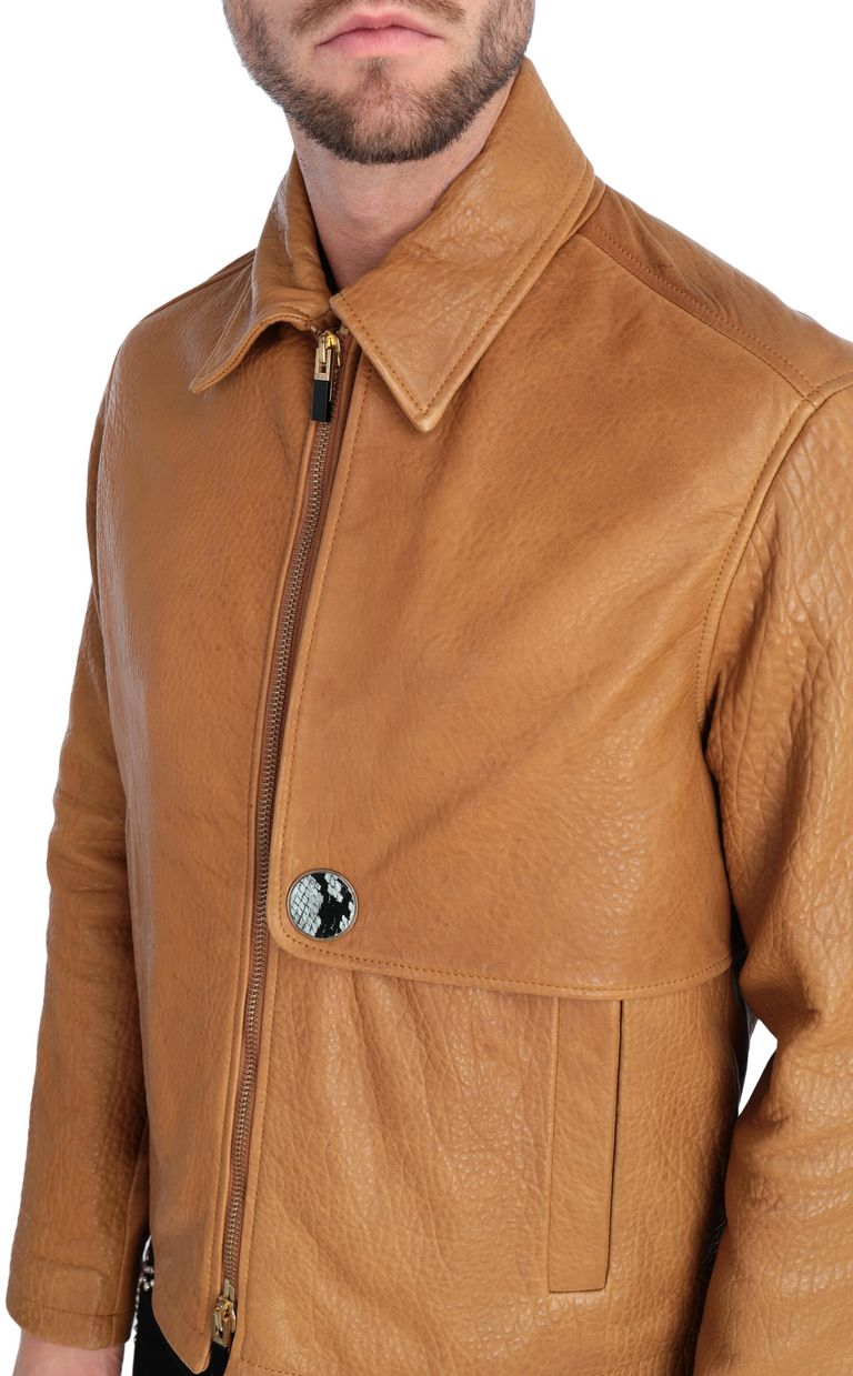 JUST CAVALLI Brown-leather jacket Leather Jacket Man e