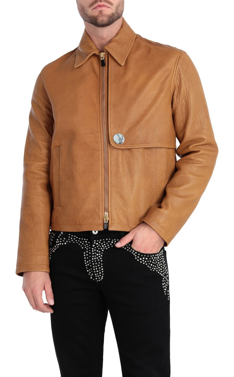 JUST CAVALLI Brown-leather jacket Leather Jacket Man f