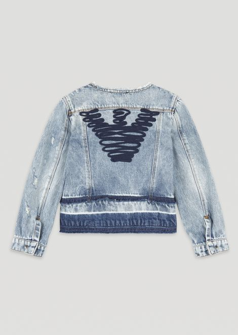 Denim jacket with eagle embroidered on the back