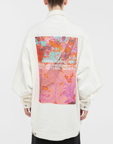 COATS & JACKETS Digital Floral-print oversized denim jacket