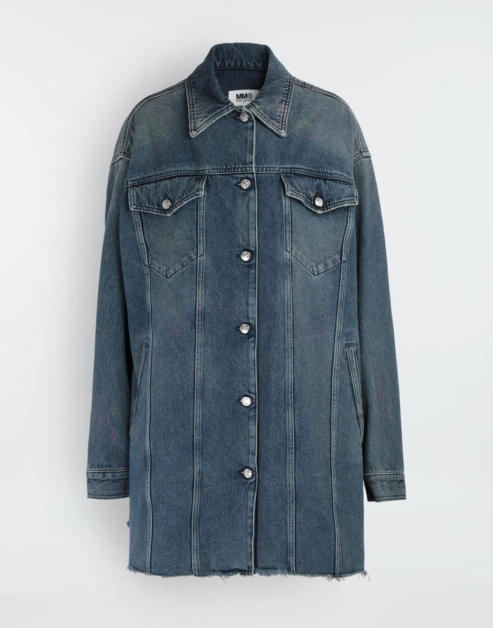 MM6 MAISON MARGIELA Oversized highlighter-treated denim jacket Jacket Woman f